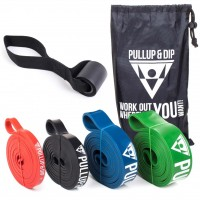 Pull-Up Bands / Resistance Bands in Different Strengths - Includes Exercise Guide 4er Set (EXTRA LIGHT + LIGHT + MEDIUM + STRONG)