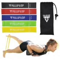 Banda elástica fitness en 5 intensidades, incluye bolsa de transporte.